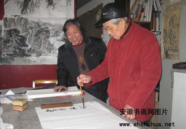 2月15日上午,省城知名书画家何瀚,童凤莉,王振声图片